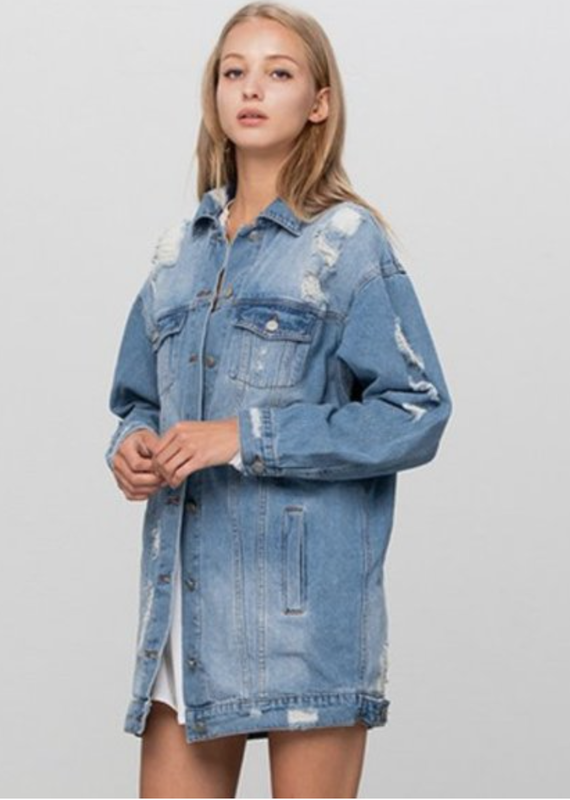 Insane Gene Oversized Distressed Denim Jacket