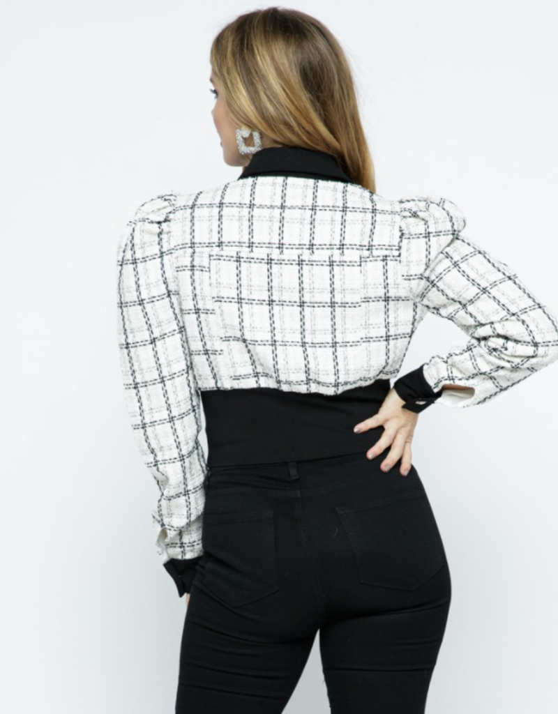 Tea & Cup Tweed Button Down Blouse with Corset