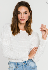 English Factory Smocked White Long Sleeve Top