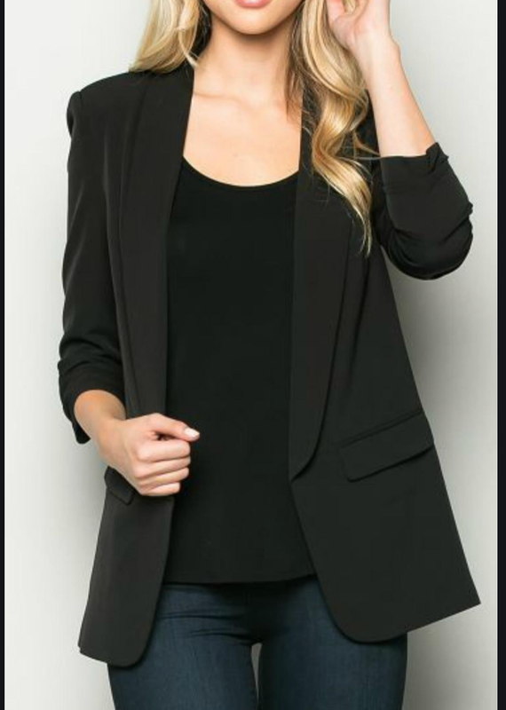 Ovi Black ruched sleeve blazer