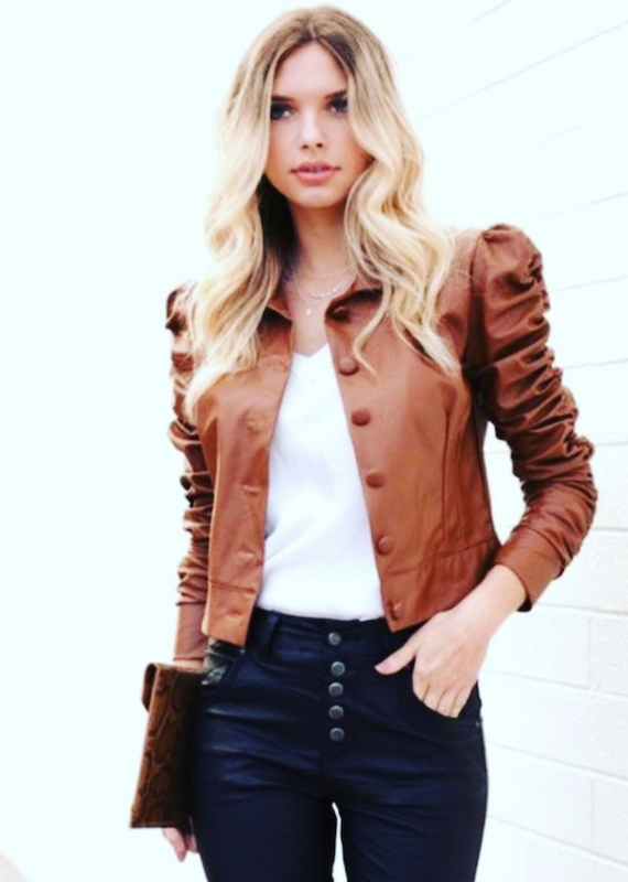 Venti6 Brown Leather Button Up Jacket
