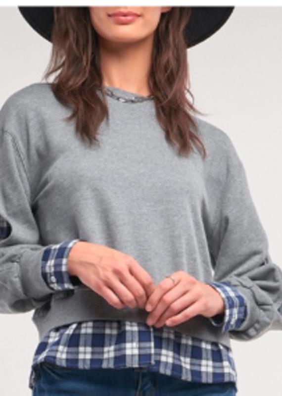 sugar lips Grey Plaid Underlay Sweater