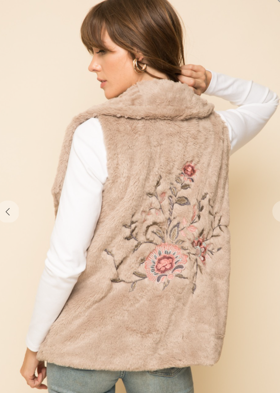 hem & thread Sand vest with pink floral applique