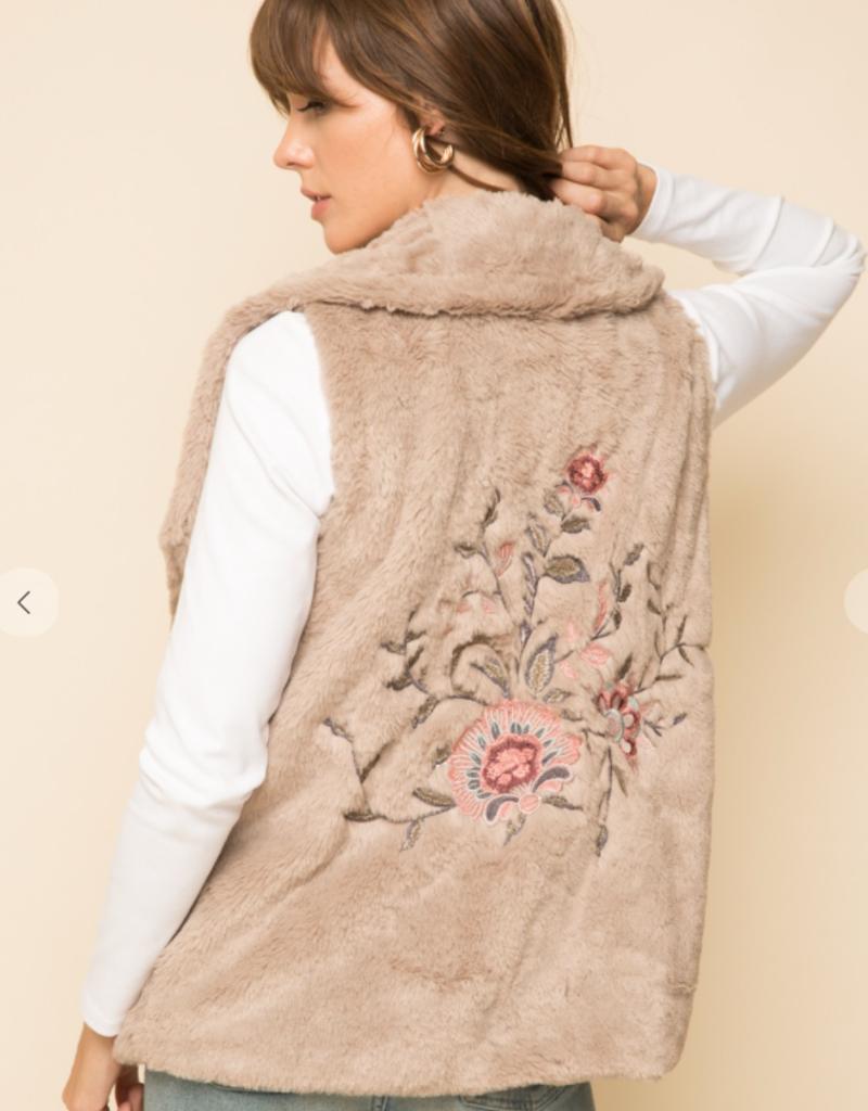 hem & thread Sand vest with pink floral applique