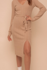 hem & thread Camel Sweater Dress with Belt