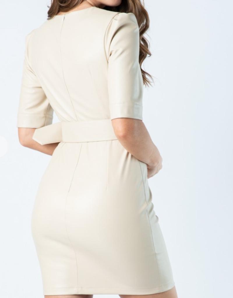 Tea & Cup Vegan Leather Dress with Belt