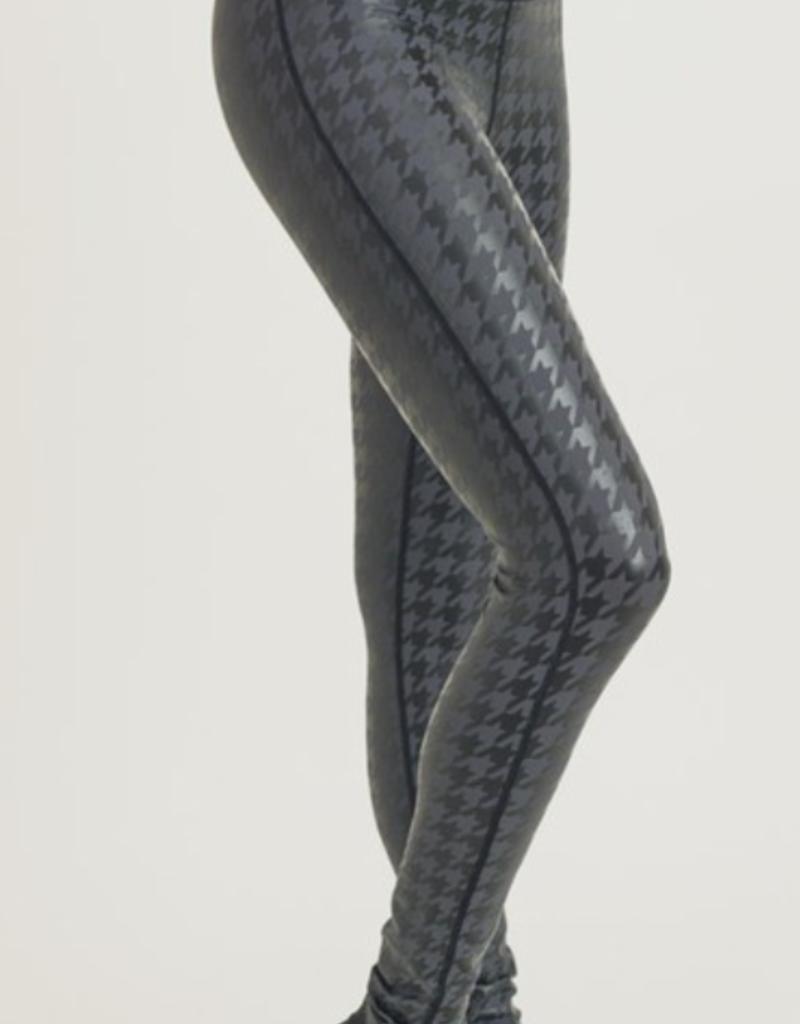 mono b Grey Houndstooth Workout Leggings #APH2926