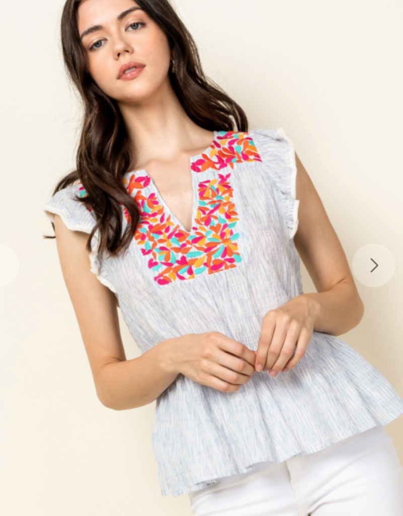 THML THS0919 EMBROIDERED V-NECK TOP