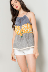 THML Mixed Media Blouse #JH875-1