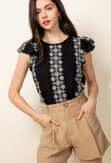 THML Embroidered Flutter Sleeve Blouse #TM5139