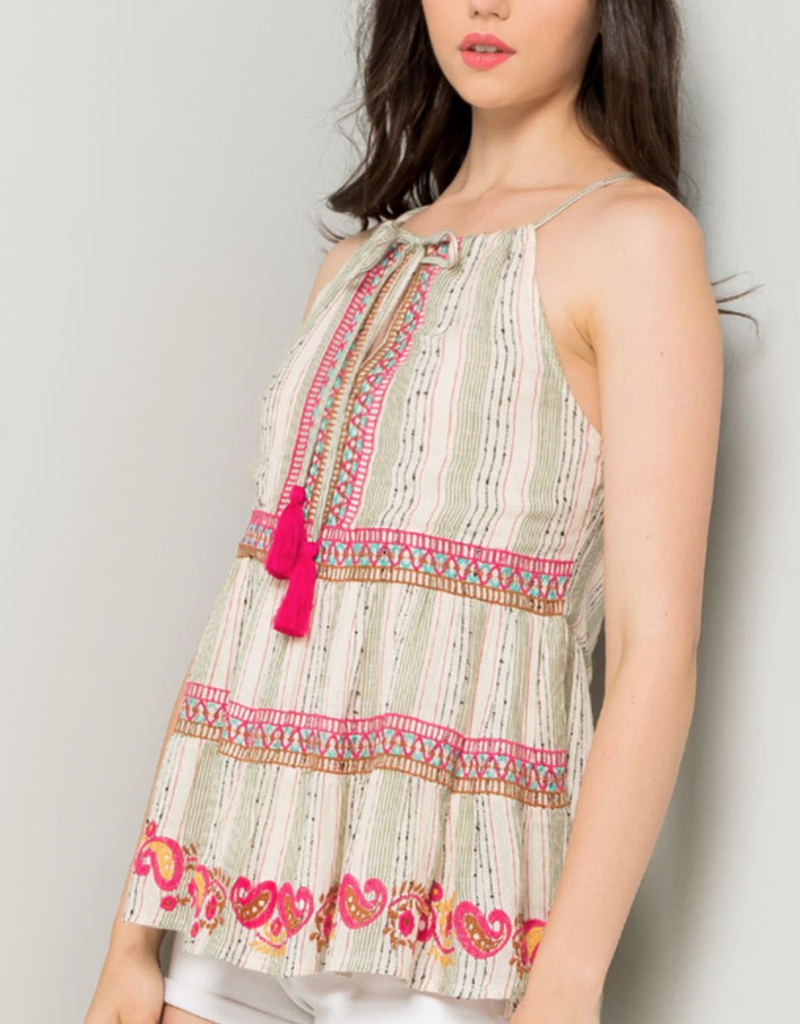 THML Embroidered Stripe Linen Blouse #SRT0516