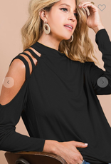 BiBi Long Sleeve Black Top with Cut Out Sleeves