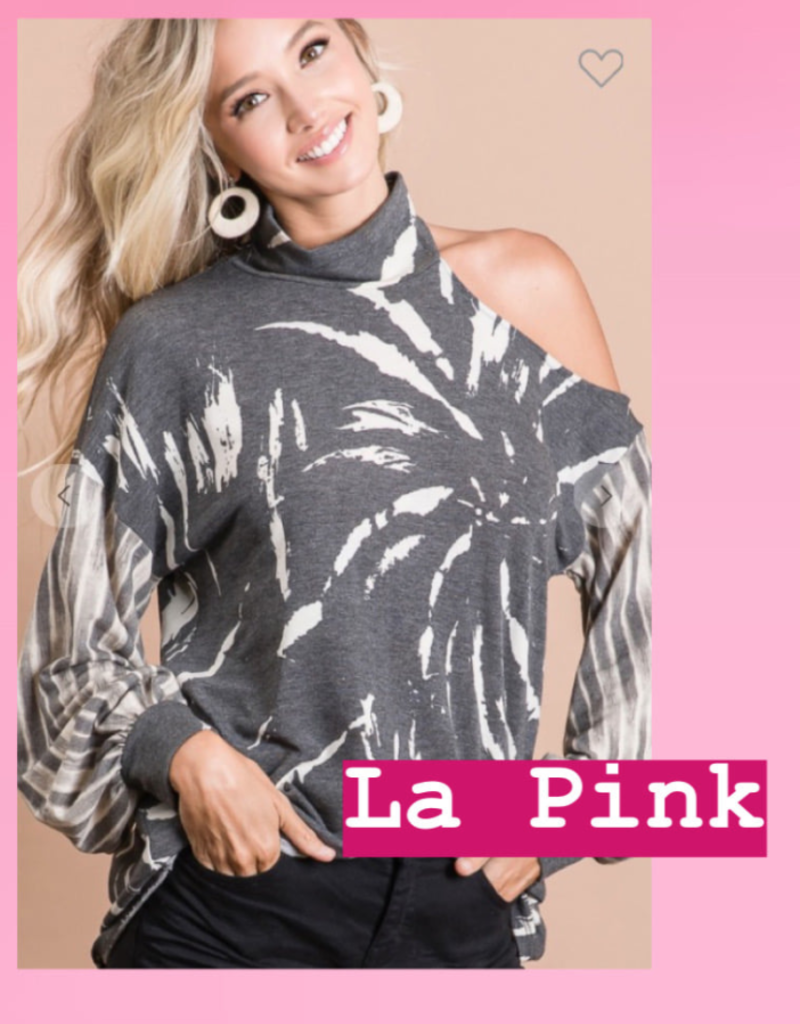 BiBi Mixed Print Open Sleeve Shirt