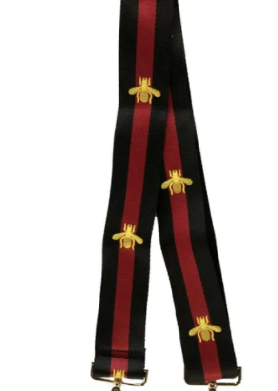 ah-dorned BLACK/RED STRIPE W/BEE ADJUSTABLE STRAP