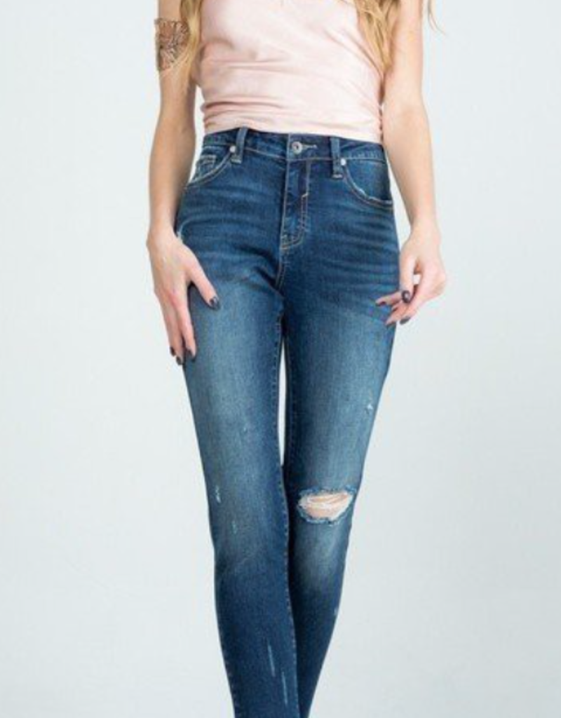 Special A P7679M MID RISE WITH ZIPPER FLY - FULL LENGTH WITH DISTRESSED HEM - DISTRESSED