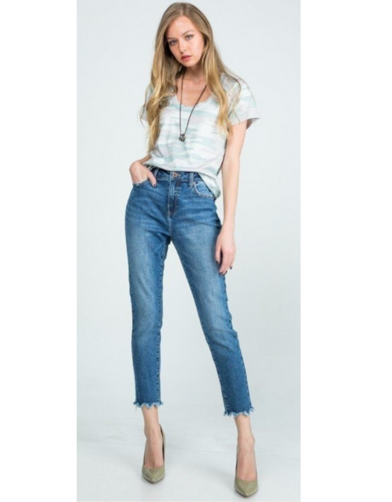 Special A P3113M  HIGH RISE WITH ZIPPER FLY - ANKLE LENGTH WITH RAW CUT HEM