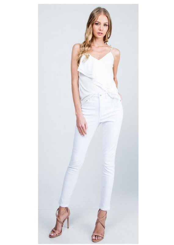 Special A WHITE HIGH RISE STRETCH BASIC SKINNY