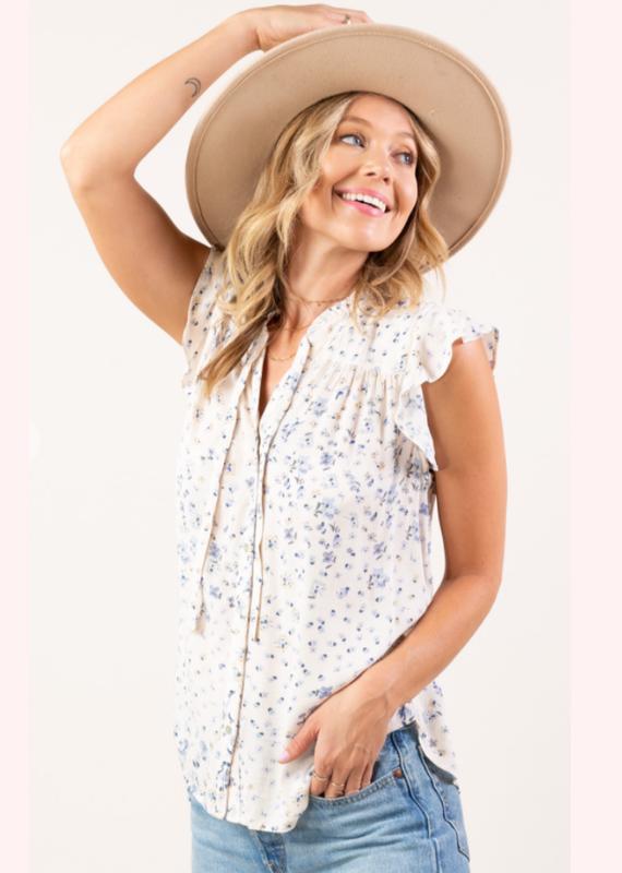 LoveStitch Vintage floral button up blouse