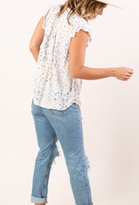 LoveStitch I-12424W-RBA-SG Vintage floral button up blouse with ruffled short sleeves and tie detail.