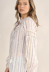LoveStitch I-12945W-QZJ Sheer, metallic striped bohemian, long sleeve top with front tassel tie detail. 94% COTTON/ 6% METALLIC