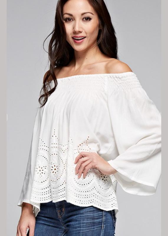 LoveStitch Beautiful, bohemian white off shoulder top