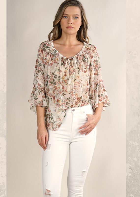 Love Stitch Sheer floral peasant top