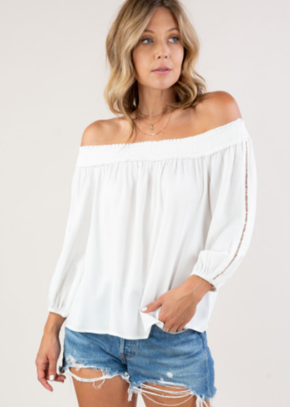Love Stitch Off the shoulder top