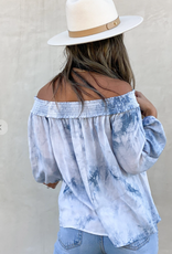Love Stitch I-13278W-RIM watercolor tie dye print off shoulder