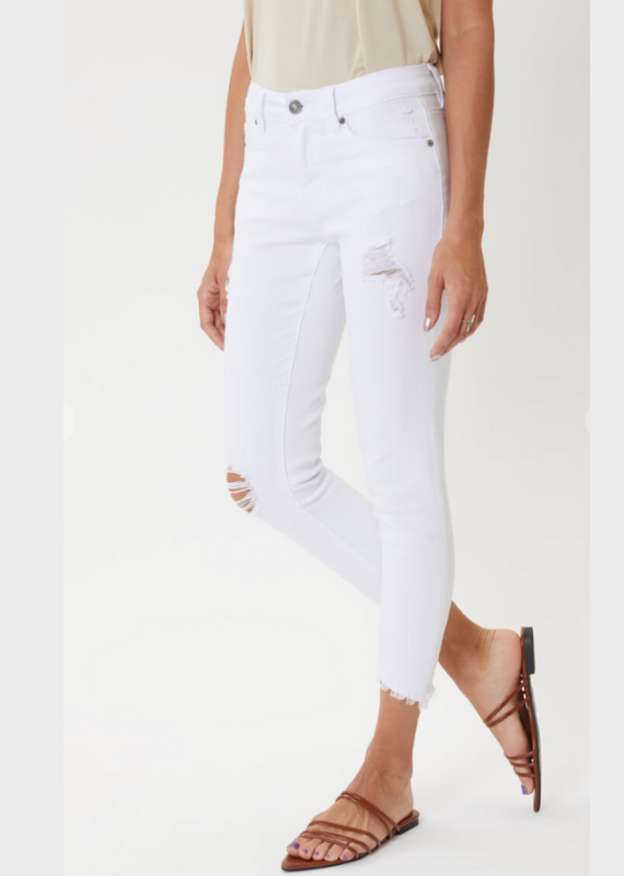 KAN CAN KC6108WT fray bottom distressed white jean