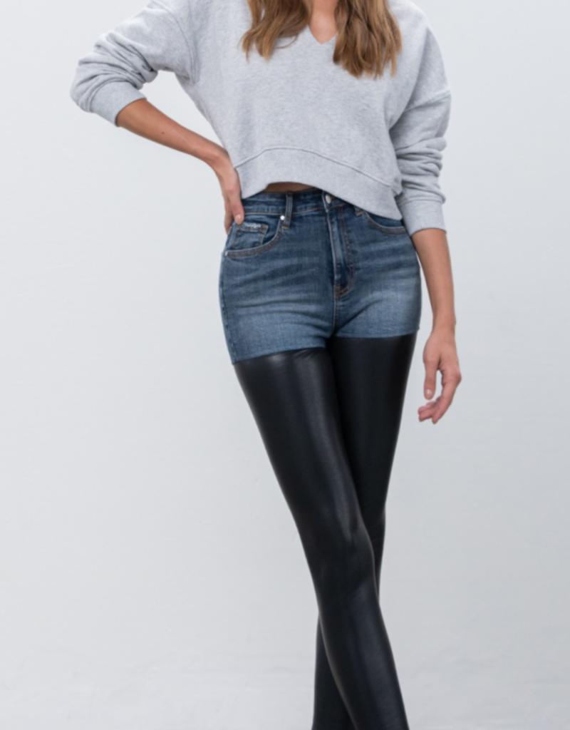 Insane Gene Denim & Faux Leather Skinny Jeans  P1124