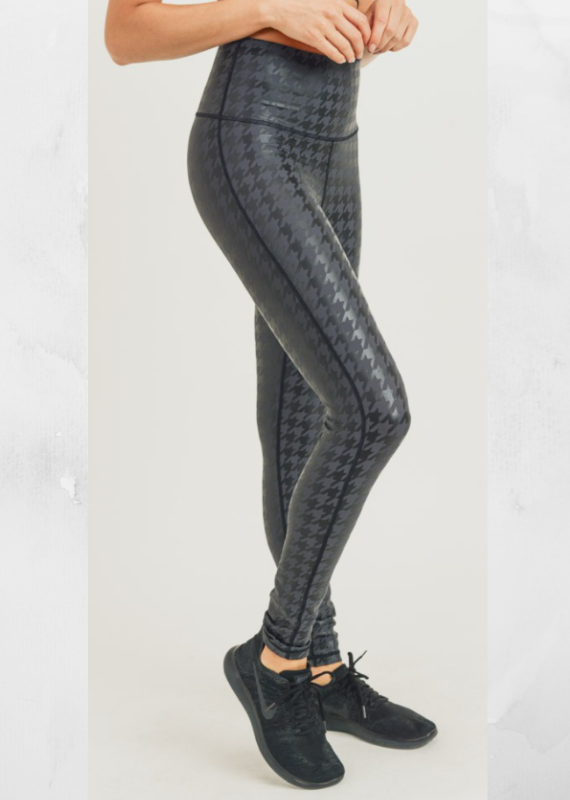 mono b Grey Houndstooth Workout Leggings