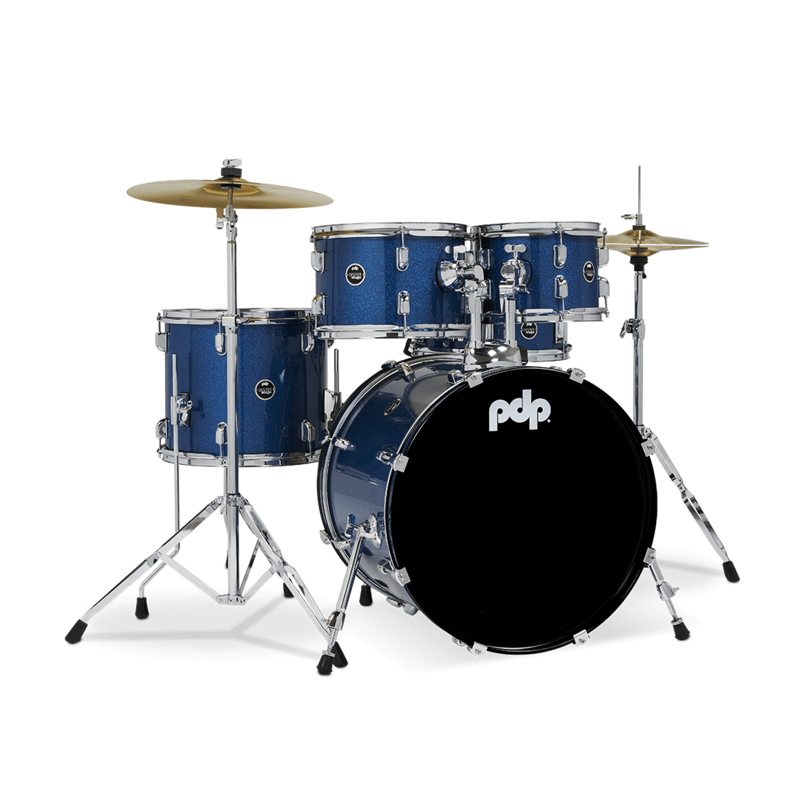 PDP PDP CENTER STAGE 5-PC DRUM SET W/ CYMBALS & HARDWARE (ROYAL BLUE SPARKLE)