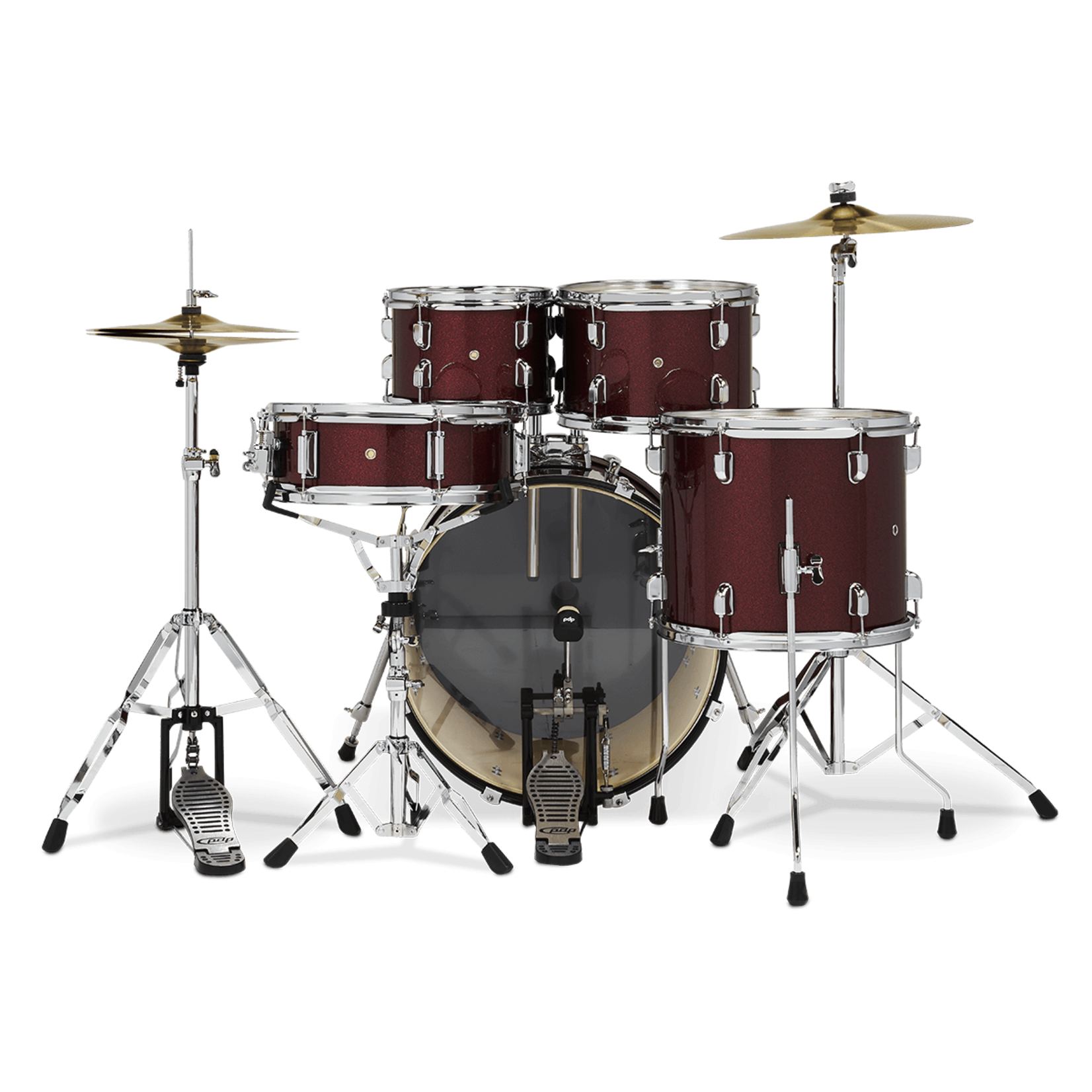 PDP PDP CENTER STAGE 5-PC DRUM SET W/ CYMBALS & HARDWARE (RUBY RED SPARKLE)