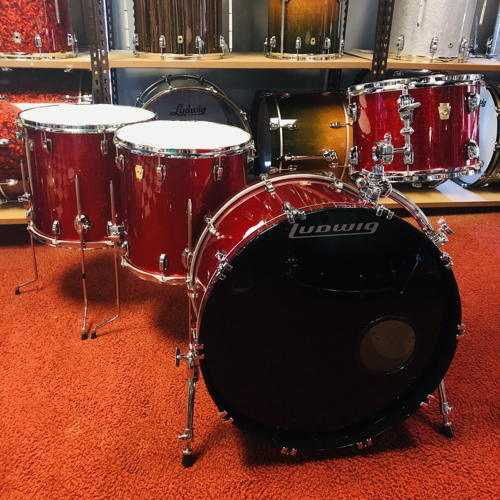 Ludwig LUDWIG CLASSIC MAPLE 4-PC SHELL PACK 13/16/18/24 (RED SPARKLE)