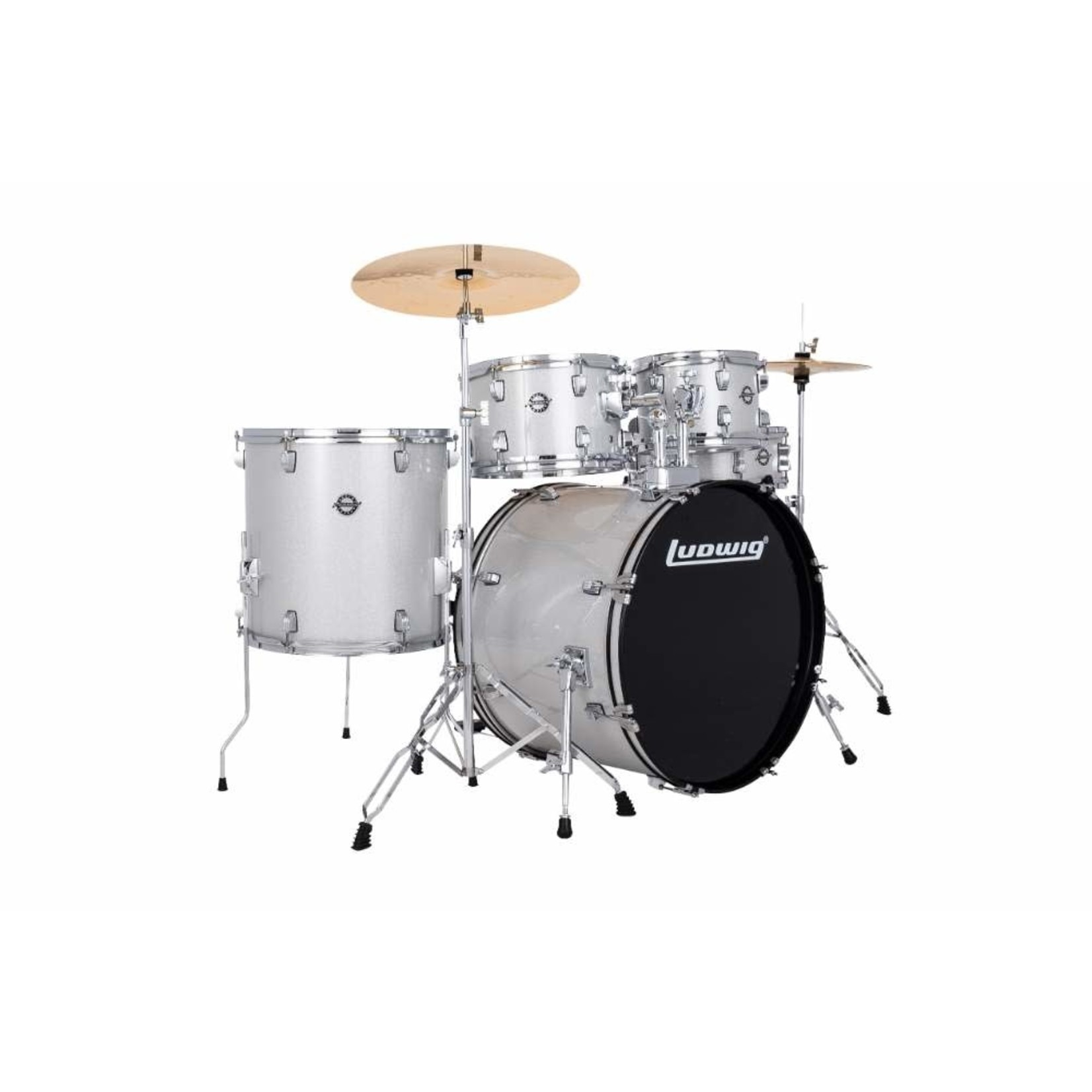 """Ludwig LUDWIG ACCENT 5-PC 22"""" COMPLETE DRIVE (SILVER SPARKLE)"""