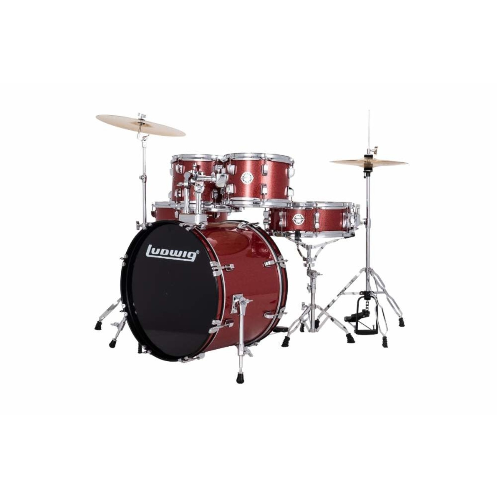 """Ludwig LUDWIG ACCENT 5-PC 22"""" COMPLETE DRIVE (RED SPARKLE)"""