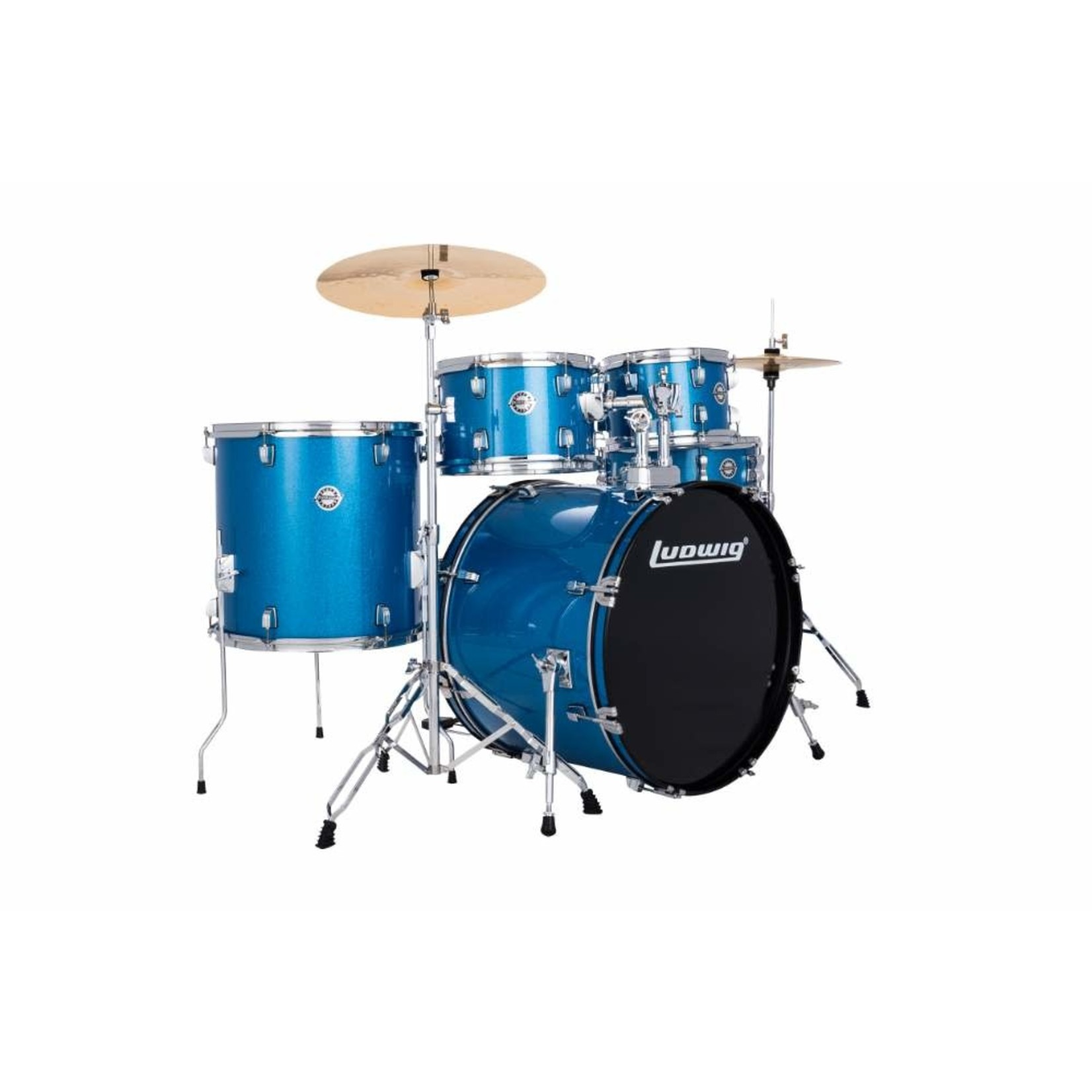 """Ludwig LUDWIG ACCENT 5-PC 22"""" COMPLETE DRIVE (BLUE SPARKLE)"""