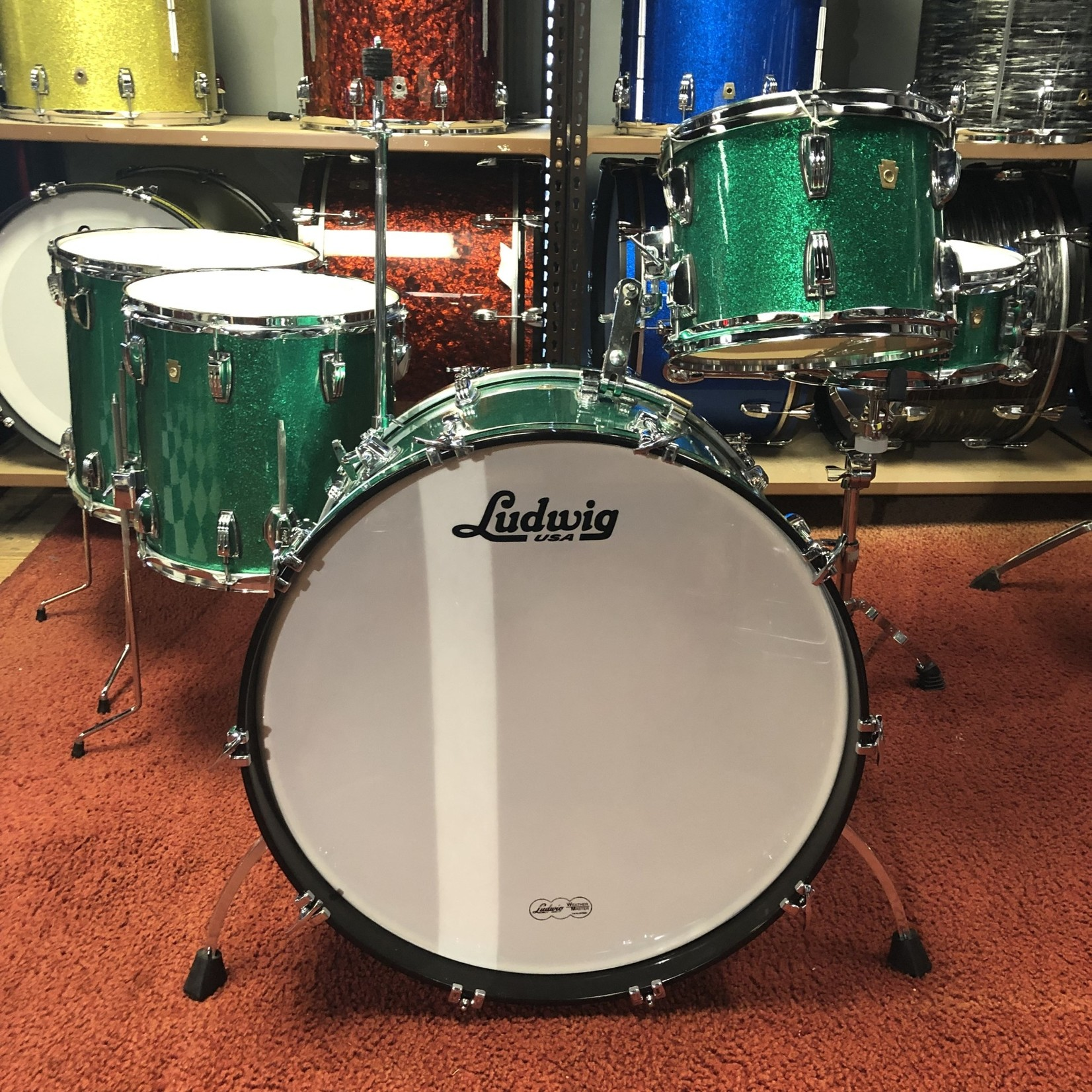 Ludwig LUDWIG LEGACY 5-PC SHELL PACK 12/14/16/24/14s (GREEN SPARKLE)