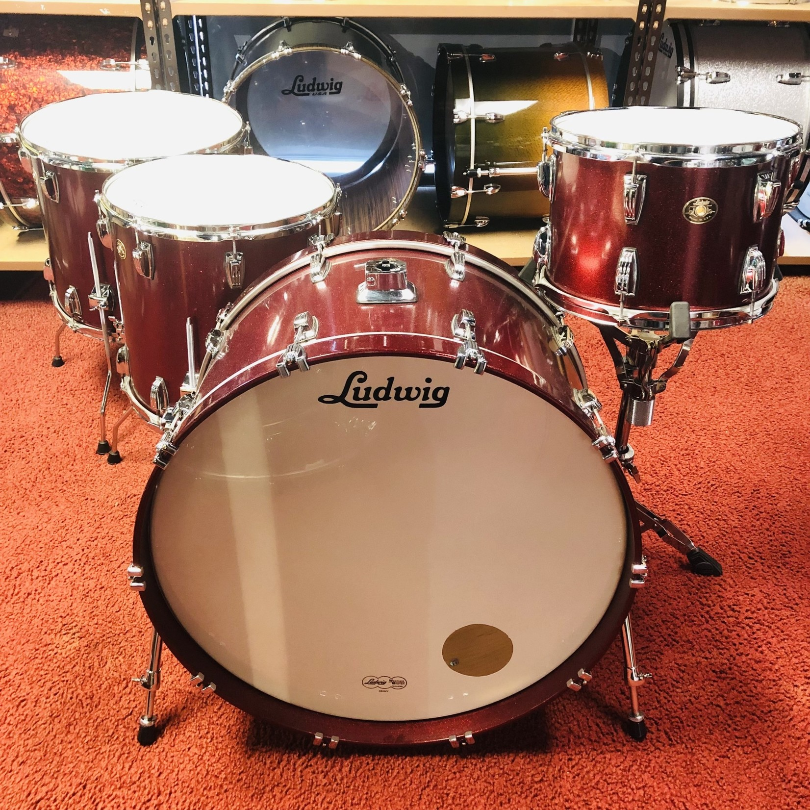 Ludwig LUDWIG CLASSIC MAPLE 4-PC SHELL PACK 13/16/18/26 (Ruby Glitter Lacquer)