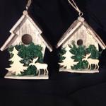 Wooden Birdhouse Ornament 2A