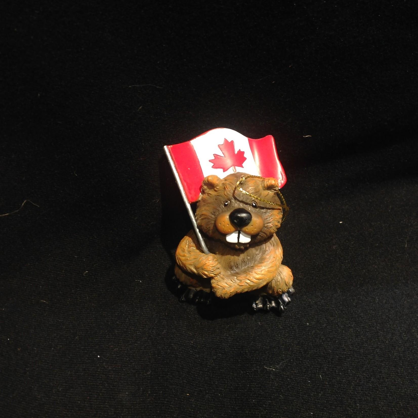 Beaver w/Flag Ornament