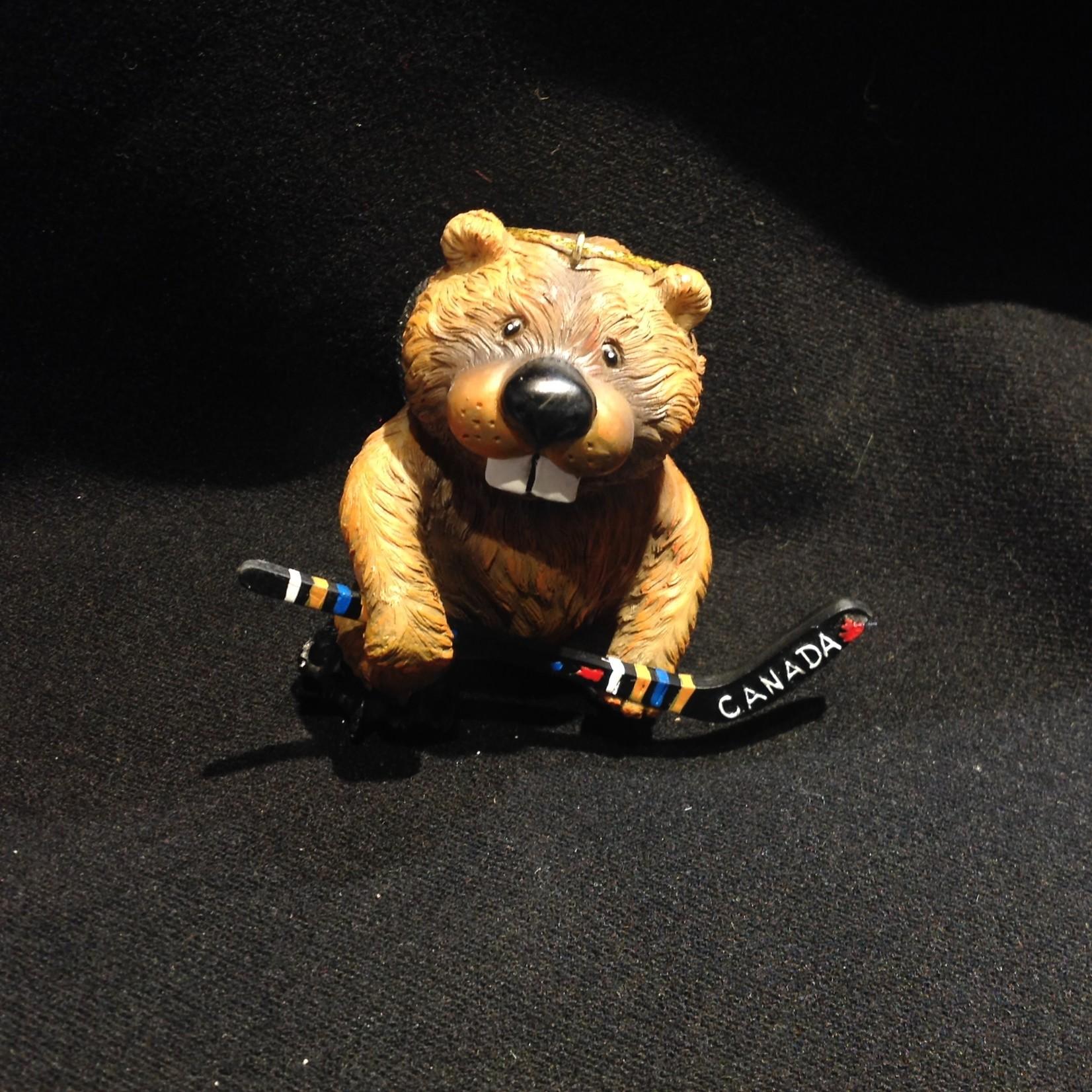 Beaver w/Hockey Stick Ornament