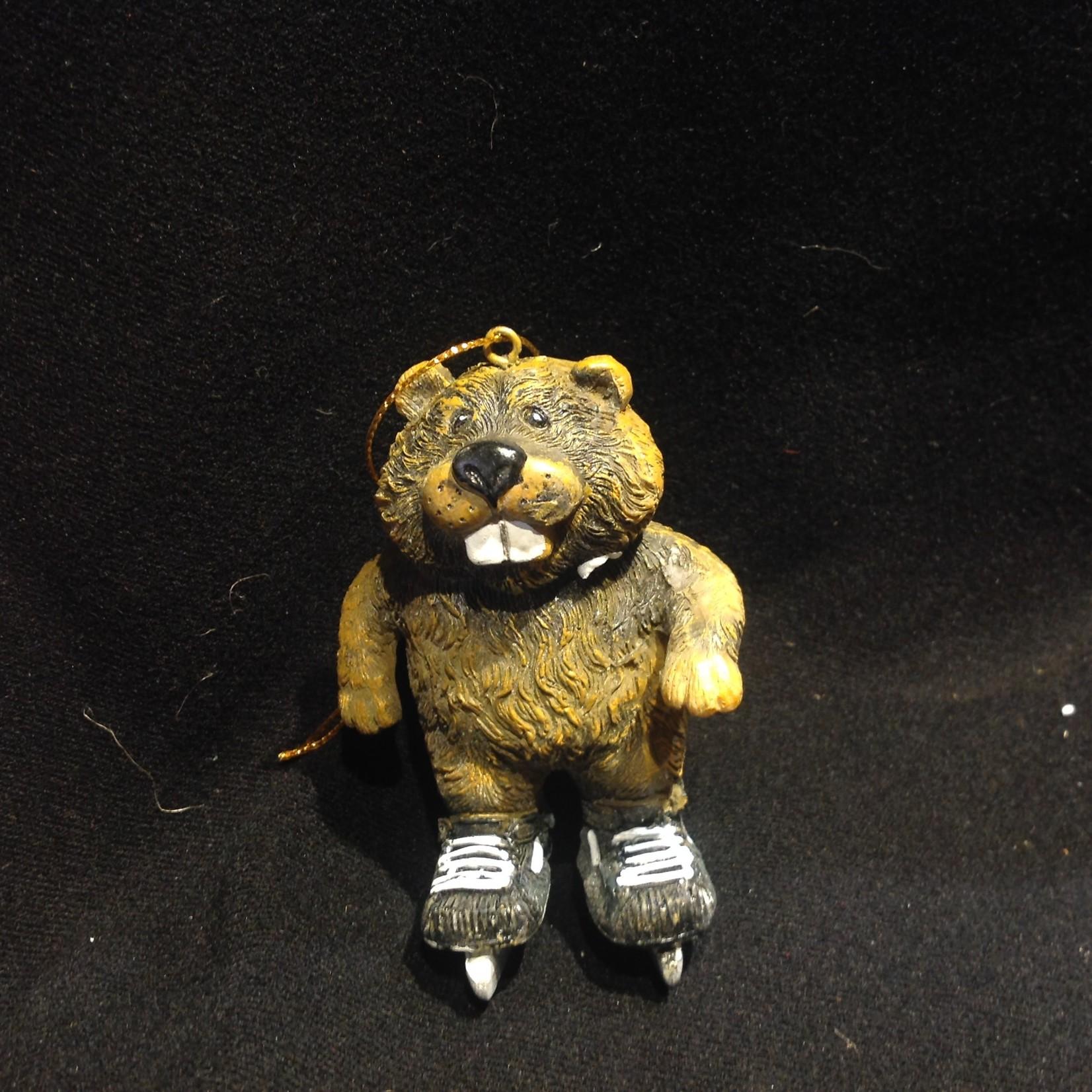 Beaver on Hockey Skates Ornament