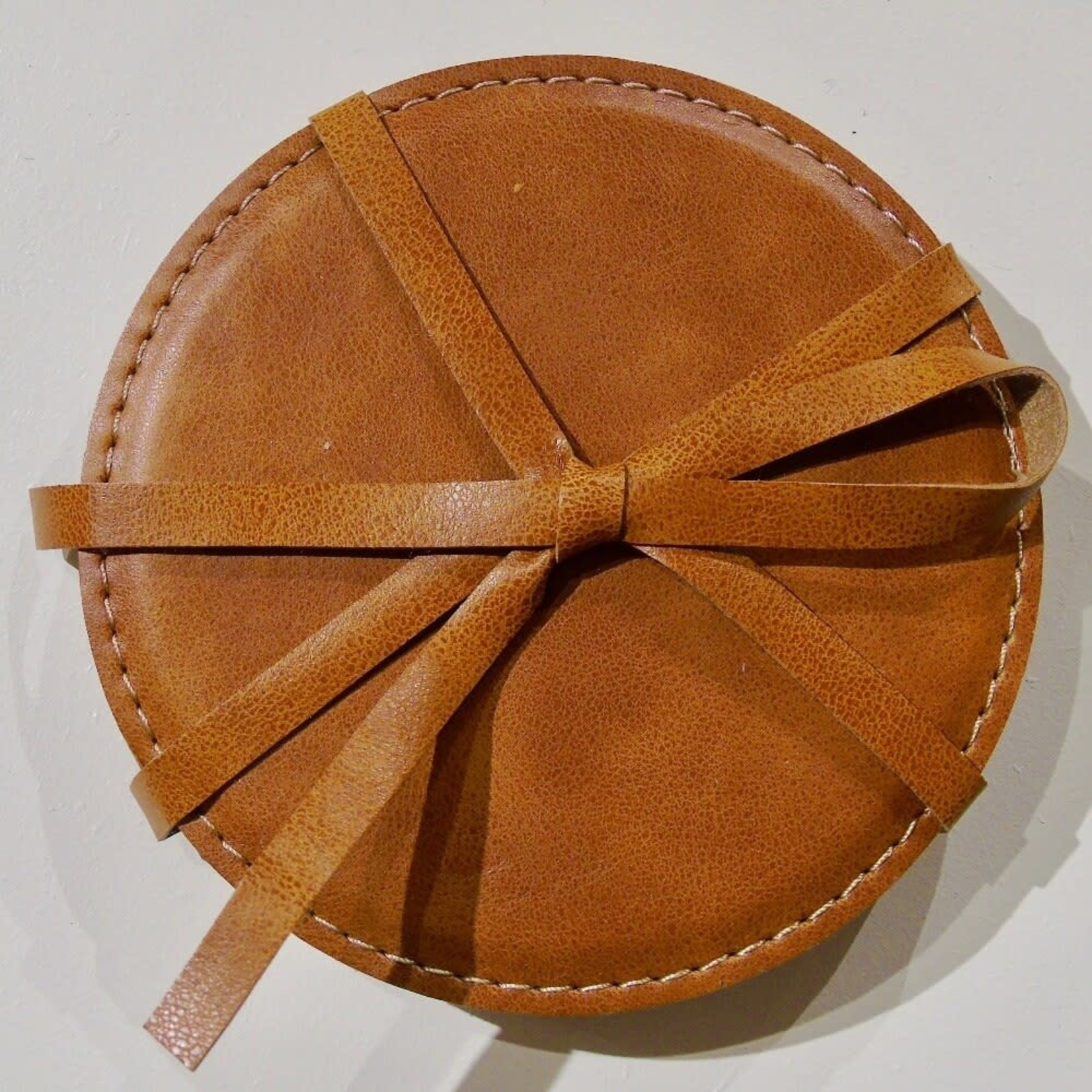 Round Faux Leather Coaster - Brown