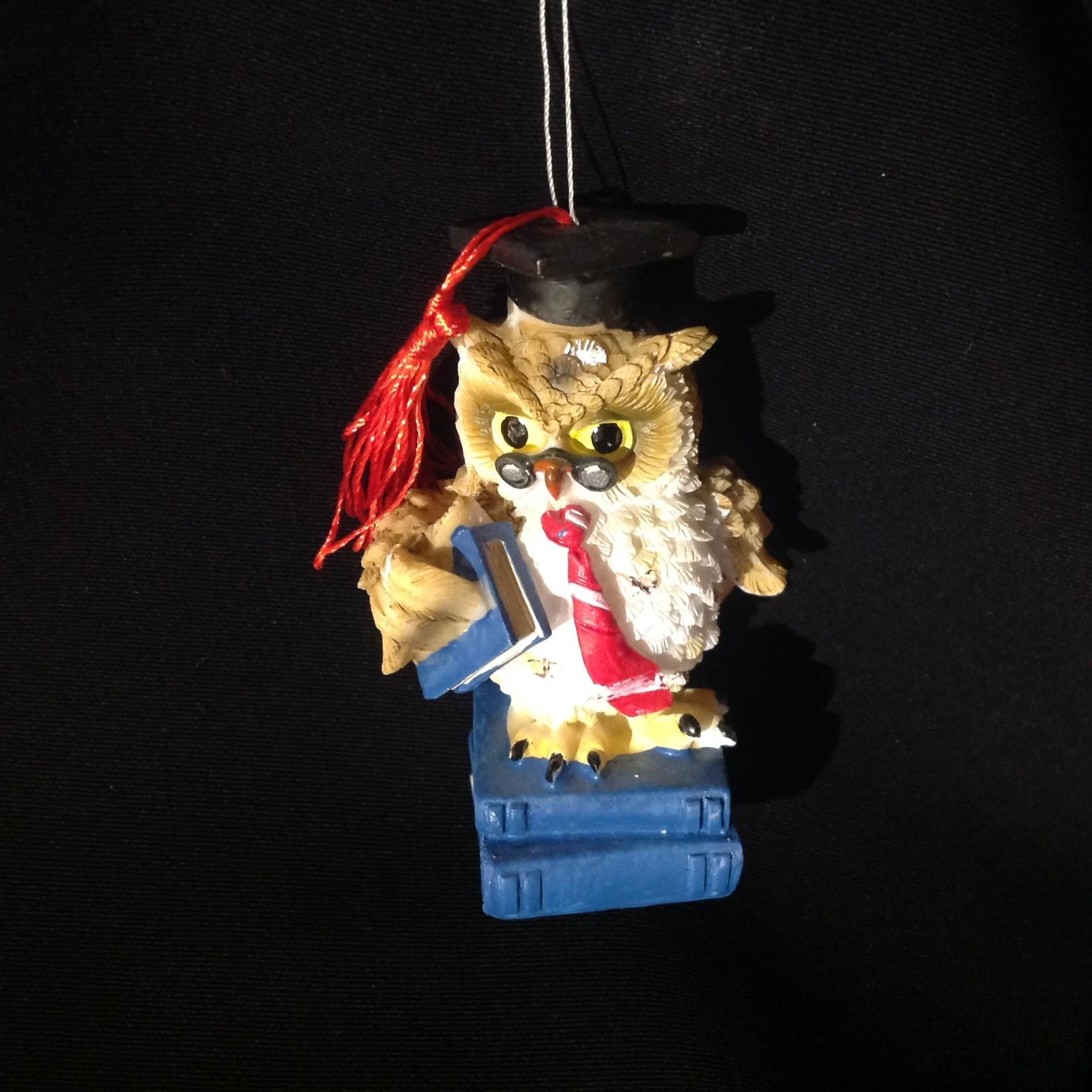 Teacher Owl w/Books Orn