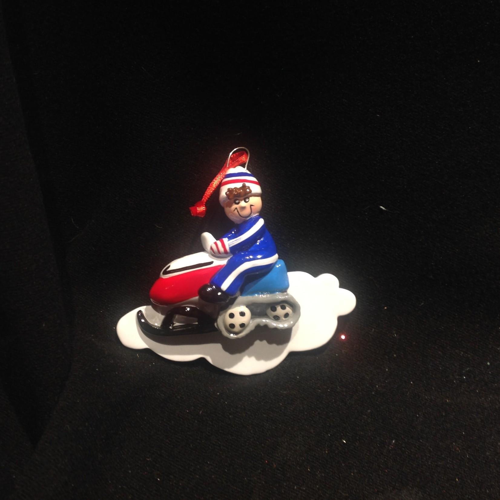 Snowmobile Boy Orn