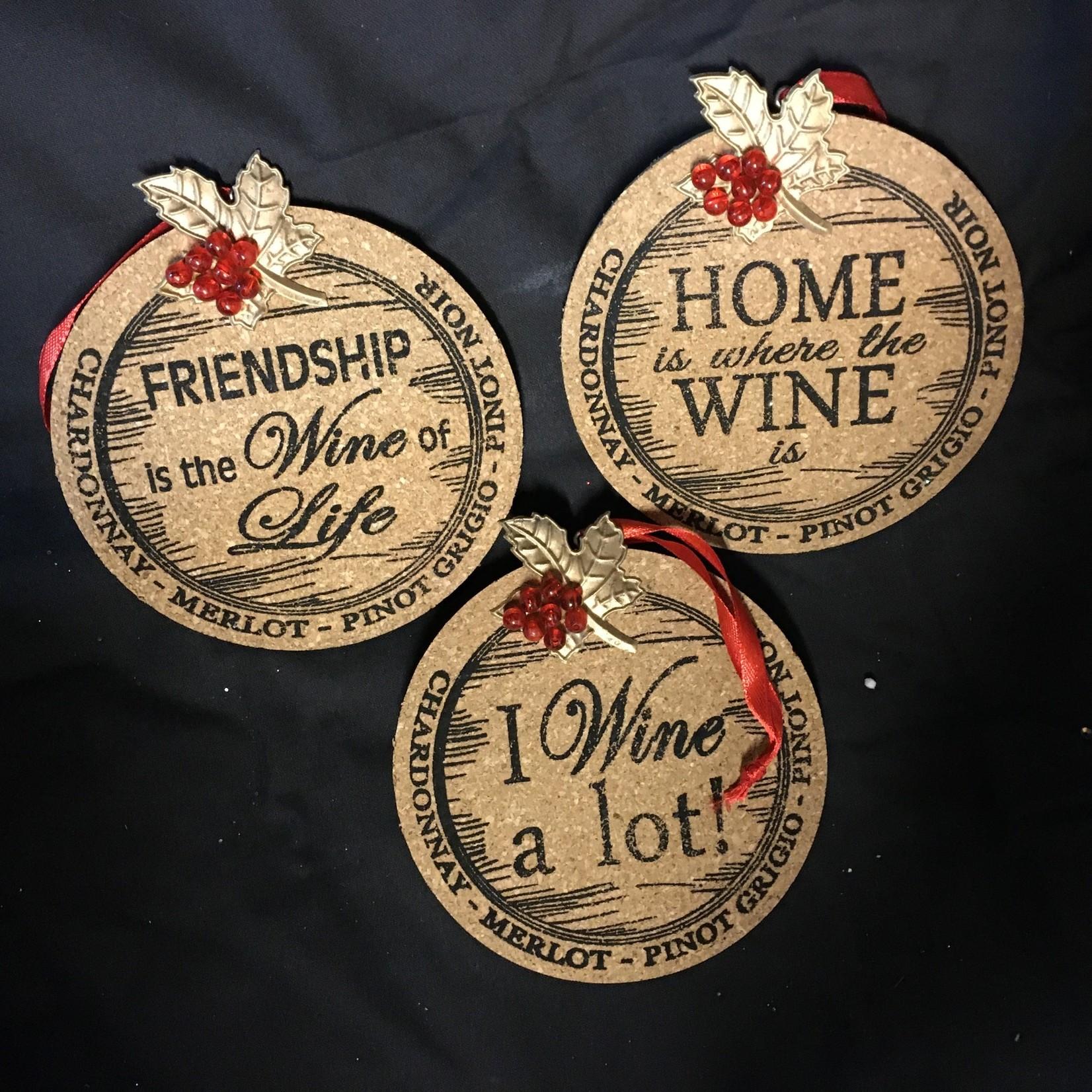 Round Cork Wine Ornament 3A