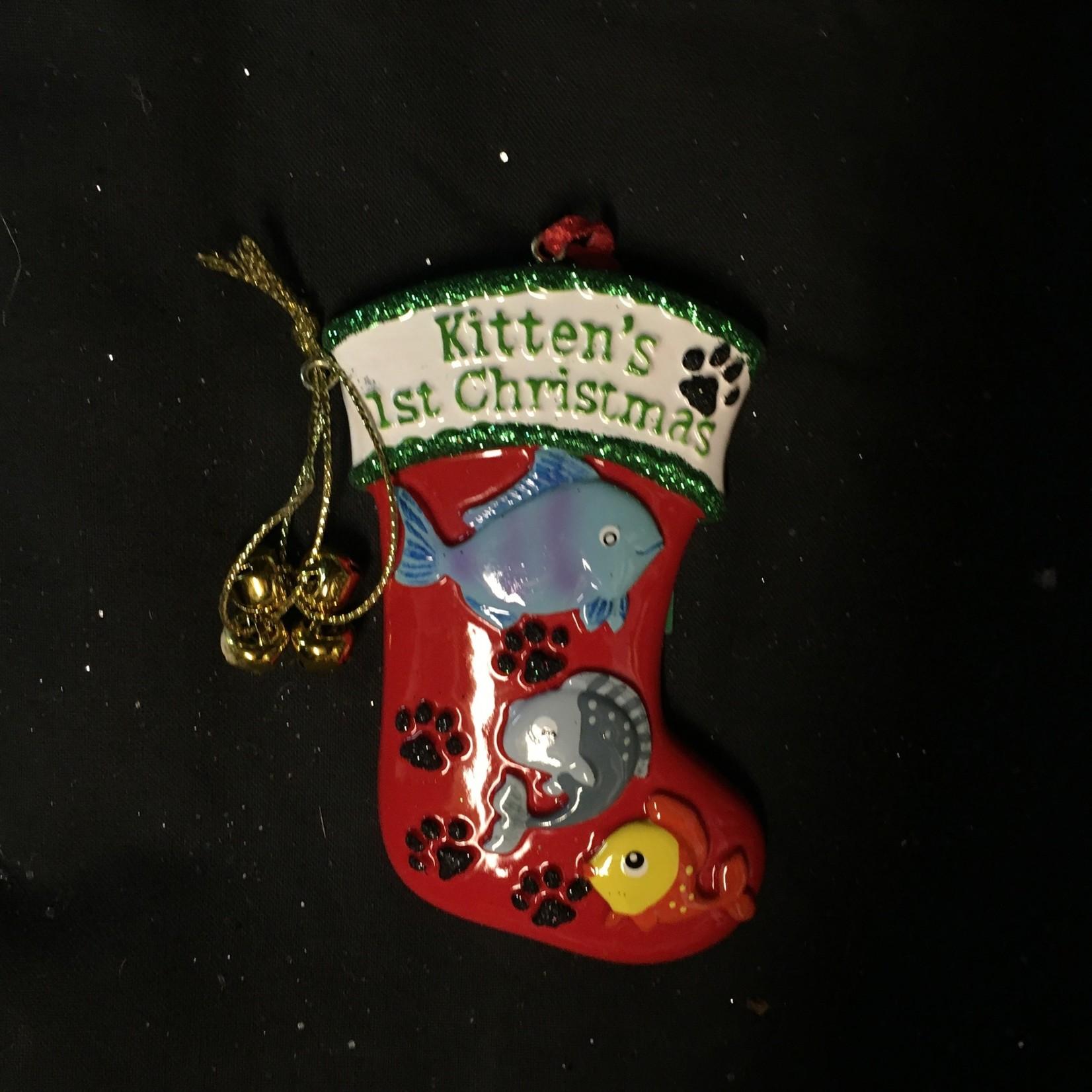 Kitten's 1st Chrismas Stocking Orn