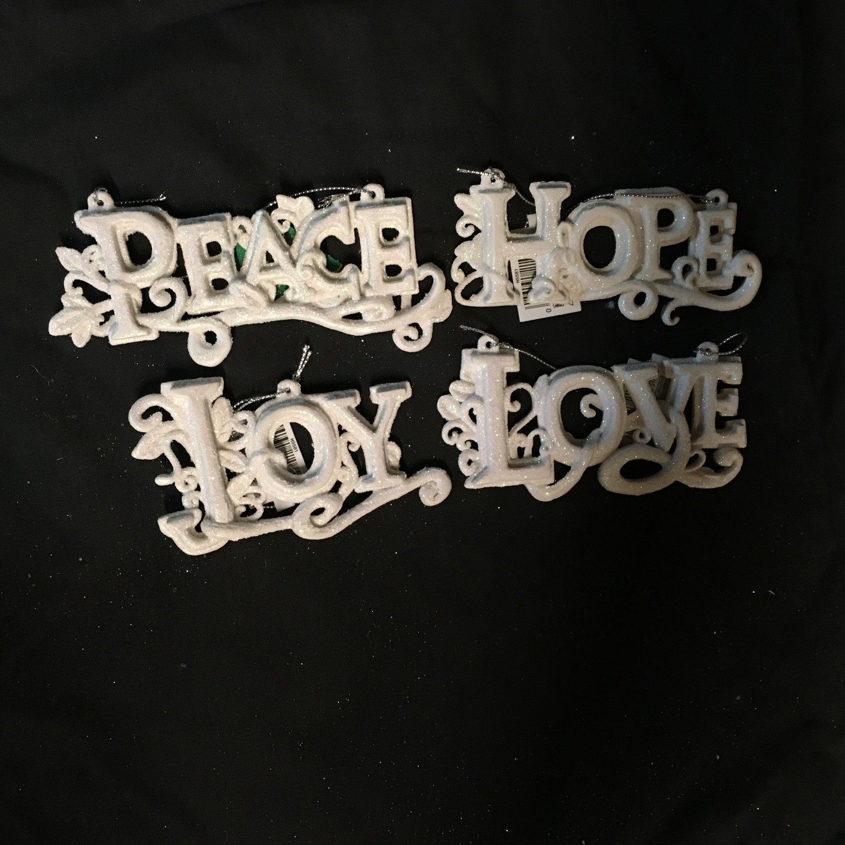 Glitter Love/Hope/Joy/Peace Orn 4A