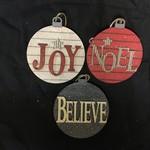 Round Noel/Joy/Believe Orn 3A